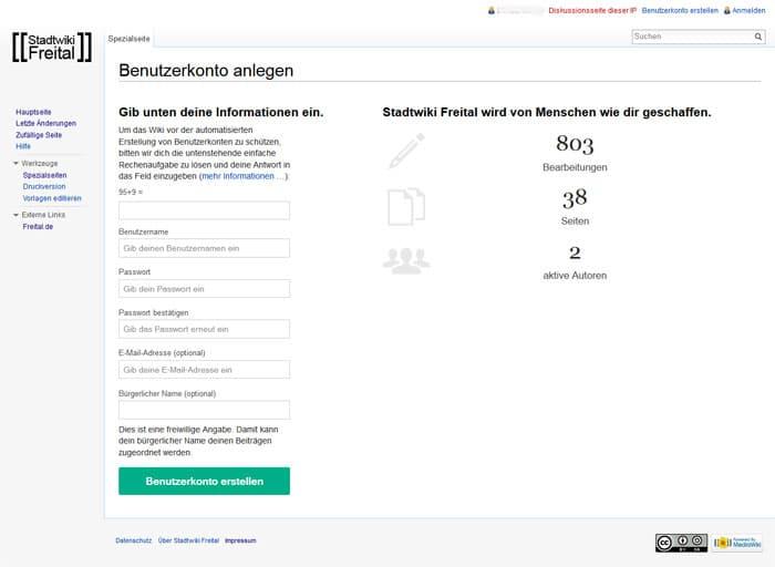 Anmeldung Stadtwiki Freital