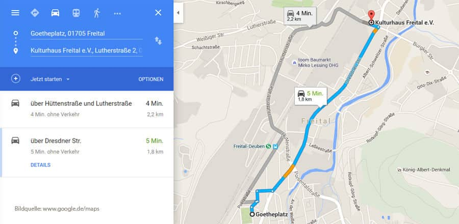 Route der Karnevalsparade in Freital