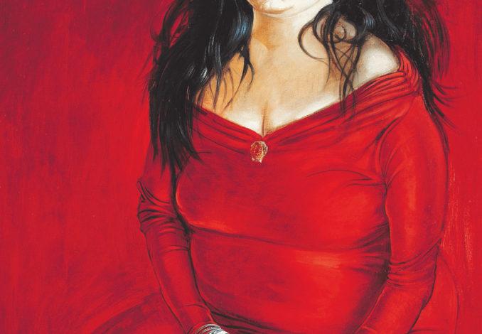 Clemens Gröszer, Ines im roten Kleid, 1989, Mischtechnik auf Leinwand
