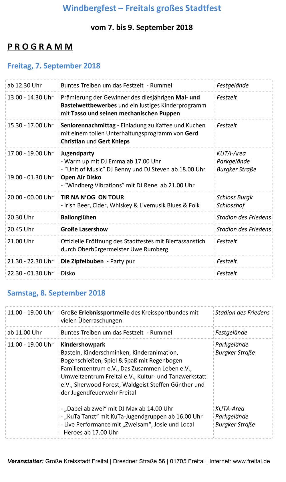 Programm Windbergfest Freital 2018 Blatt 1