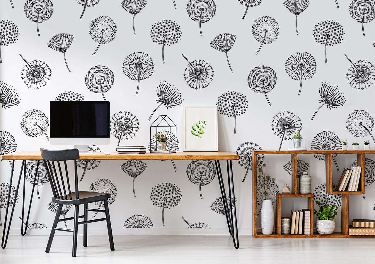 Fototapete Pusteblumen über den Schreibtisch